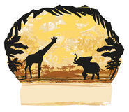 African savannah. Background in grunge style, Vector Illustration Stock Photography