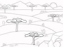 African savannah coloring book. Background nature. Desert vector Stock Photo