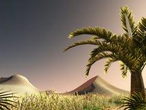 Great view on Sahara desert at sundown 3d rendering. African savannah with lush and radiant vegetation Stock Image