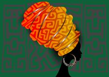 African scarf, portrait Afro woman in a geometri turban. Tribal Wrap fashion, Ankara, Kente, kitenge. Nigerian style dresses Ghana stock illustration