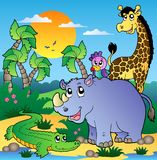 African scenery with animals 3. Illustration Royalty Free Stock Photo
