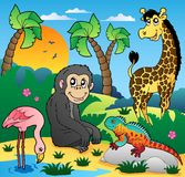 African scenery with animals 5. Vector illustration Stock Image
