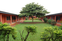 African school buldings. Africa school buildings with lawn grasses and trees in Nigeria, Africa Stock Images