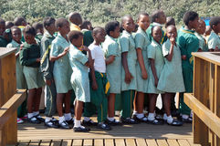 African schoolchildren. Wearing green school uniform and waiting in a row stock photography