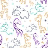 African seamless pattern. With cute smiling Hippo and a bird on his head,Rhino,zebra, giraffe on a white background.Cartoon.contour, outline. Vector Stock Illustration