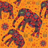 African seamless pattern with elephants vector Royalty Free Stock Photos
