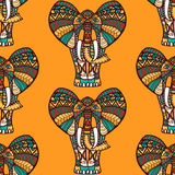 African seamless pattern. With elephants on orange  background and seamless pattern in swatch menu, vector illustration Stock Photo