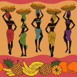 African seamless pattern of fruits and street vendors. Colorful African seamless pattern of fruits and beautiful street vendors Stock Images
