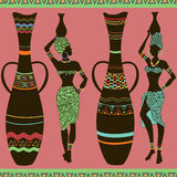 African seamless pattern of girls and vases Stock Photos