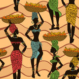 African seamless pattern of street vendors Stock Photo