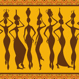 African seamless pattern with women Stock Photography