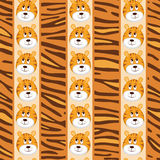 African seamless patterns. With cute tiger and tiger skin Royalty Free Stock Photos