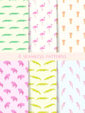 African Seamless Patterns. Vector Set Royalty Free Stock Photo