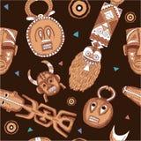 African Seamless Tile. (wallpaper, texture, background, masks vector illustration