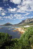 African Seascape. Lions Head and Table Mountain overlooking the Atlantic Coast of Cape Town, South Africa Stock Photo