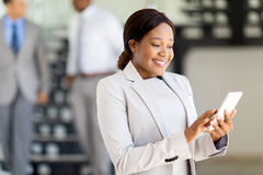 African secretary smart phone Royalty Free Stock Images
