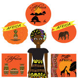 African set with dishes, animals, woman and tree Royalty Free Stock Images