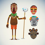 African shaman character with masks set -. Illustration vector illustration