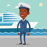 African ship captain in uniform at the port. Stock Images