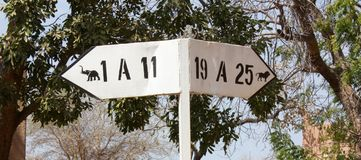 African signposting. The African signposting in the park stock images