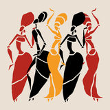 African silhouette set. Figures of african dancers. Dancing woman in ethnic style. Vector  Illustration Stock Photography