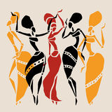 African silhouette set. Figures of african dancers. Dancing woman in ethnic style. Vector  Illustration Stock Image