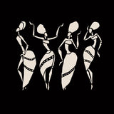 African silhouette set. Figures of african dancers. Dancing woman in ethnic style. Vector  Illustration Royalty Free Stock Image