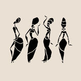 African silhouette set. Figures of african dancers. Dancing woman in ethnic style. Vector  Illustration Stock Photo