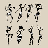 African silhouette set. Figures of african dancers. People silhouette set. Vector  Illustration Stock Photography