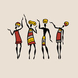 African silhouette set. Figures of african dancers. People silhouette set. Vector  Illustration Stock Images