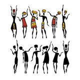 African silhouette set. Figures of african dancers. People silhouette set. Vector  Illustration Royalty Free Stock Image