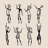 African silhouette set. Figures of african dancers. People silhouette set. Vector  Illustration Royalty Free Stock Images