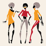 African silhouette set. Figures of african dancers. Vector fashion illustration Stock Images