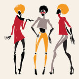 African silhouette set. Figures of african dancers. Vector fashion illustration Royalty Free Stock Photo