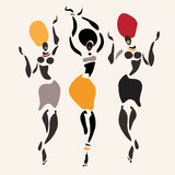 African silhouette set. Figures of african dancers. Vector  Illustration Royalty Free Stock Image