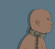 African slave. Chained African slave from Middle ages Royalty Free Stock Photo