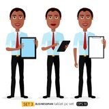 African smiling business cartoon man standing with tablet concept flat vector isolated on white stock illustration