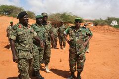 African soldiers in field
