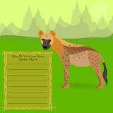 African Spotted Hyena. AfricanSpotted Hyena Against Symplistic Nature Background and Poster with Space for Interesting Facts about this Animal. Educational Card Stock Photo