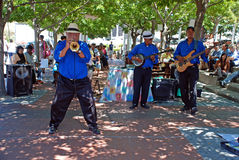 African street jazz band, Capetown, South Africa. CAPE TOWN, SOUTH AFRICA - DECEMBER 30, 2007: African street jazz band on the Waterfront in Capetown, South Royalty Free Stock Photo