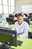African student in computer training. And e-learning in university royalty free stock photo