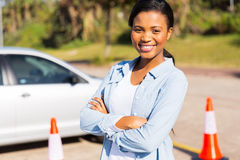 African student driver in testing ground Stock Photo