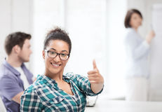 African student girl showing thumbs up Stock Photos