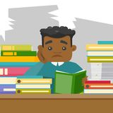 African student studying hard before the exams. African-american bored university student studying hard before the exams in the library. Sad teacher feeling Stock Images
