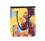 African style print on the bag. Isolated on the white backgroud stock image