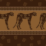 African style seamless background with leopards Stock Image