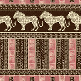 African style seamless background with lions. And abstract figures stock illustration