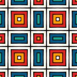African style seamless pattern in bright colors. Ethnic and tribal motif. Repeated squares ornamental background. African style seamless surface pattern in Royalty Free Stock Photography