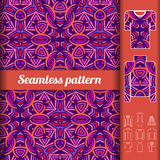 African style seamless pattern with examples of usage. Repeating. Ornament for fashion clothes. Vector illustration Royalty Free Stock Images