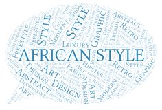 African Style word cloud. Wordcloud made with text only royalty free illustration